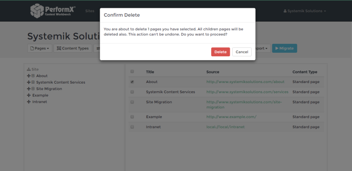 Screenshot of the 'Confirm Delete' dialogue box.