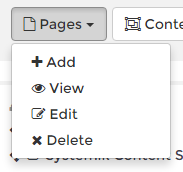 Screenshot of the drop-down menu under the 'Pages' button. The menu items shown are Add, View, Edit, and Delete.